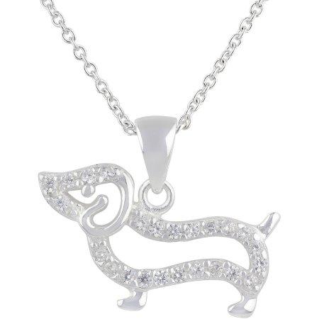 "Truly Radiant Pave CZ Stone Sterling Silver Dog Pendant Necklace, 18"""