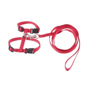 Unique Bargains 1cm Width Red Nylon Adjustable Belt Pet Dog Cat Puppy Harness Halter Leash