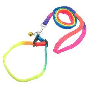 Unique Bargains 4.46ft Jingle Bell Decor Pet Dog Leads Colors Nylon Rope Leashes w Trigger Hook
