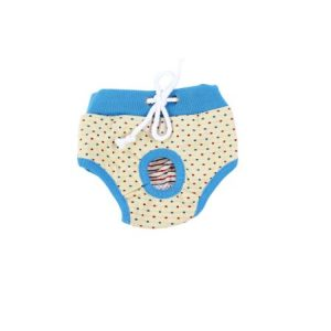 Unique Bargains Beige Blue Dots Prints Drawstring Closure Pet Dog Doggie Waist Diaper Pants L