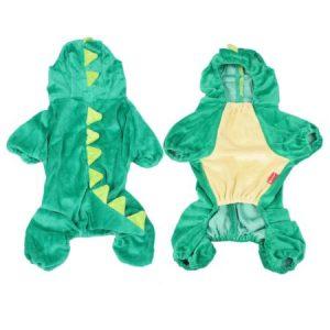 Unique Bargains Costume Plush Dinosaur Design Shih Tzu Dog Jumpsuit Apparel Green L