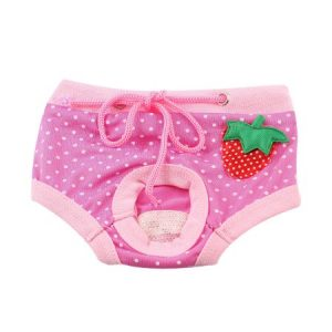 Unique Bargains Dot Pattern Strawberry Accent Drawstring Pet Dog Puppy Waist Diaper Pants Pink M