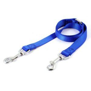 Unique Bargains Pet Dog Doggie Metal Double Trigger Hook Style Leash Rope Blue