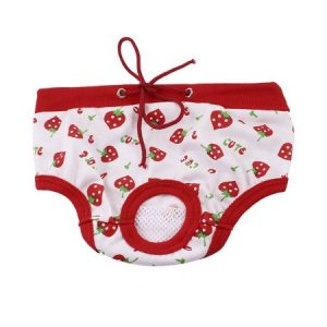 Unique Bargains Pet Dog Doggy Strawberry Printed Adjustable Waist Diaper Pants Red White L