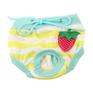 Unique Bargains Pet Dog Doggy Yellow White Striped Adjustable Waist Diaper Pants Underwear S