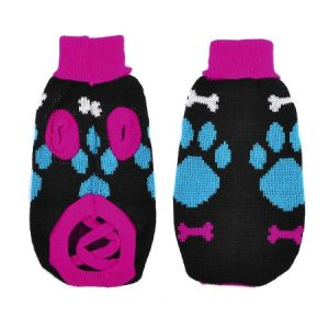Unique Bargains Pet Dog Puppy Blue Fuchsia Bone Printed Turtleneck Sweater Costume Size XS