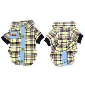 Unique Bargains Pet Dog Puppy Brown Yellow Grid Print Single Breasted Collar T Shirt Costume L