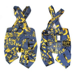 Unique Bargains Pet Dog Puppy Letter Printed Suspenders Trousers Pants Yellow Blue Size L