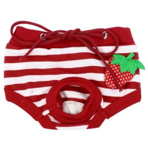 Unique Bargains Red White Strawberry Accent Drawstring Closure Pet Dog Waist Diaper Pants S