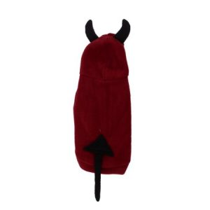 Unique Bargains Single Breasted Devil Design Pet Dog Doggie Halloween Costume Coat Black Red S