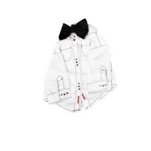 Unique Bargains Unique Bargains Round Hem Necktie Bow Doggy Dog Clothes Shirt Pet Apparel White M