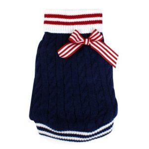 Unique Bargains Winter Warm Navy Bowtie Decor Knitwear Pet Puppy Dog Clothes Dog Apparel Sweater Size S Blue