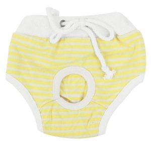 Unique Bargains Yellow White Stripes Print Drawstring Closure Pet Poodle Waist Diaper Pants XS