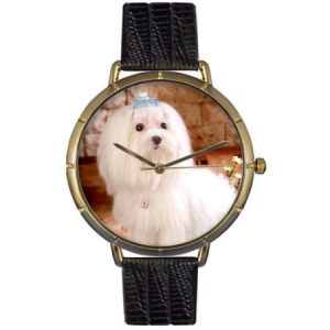 Whimsical Watches Womens N0130051 Maltese Black Leather And Goldtone Photo Watch