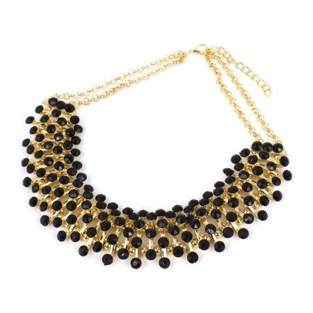 Women Acrylic Beads Ornament Statement Chunky Collar Chain Bib Necklace Black