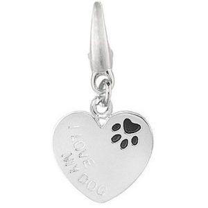 Women's Sterling Silver Heart I Love My Dog with Enamel Paw Print Clip-On Charm
