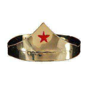 Wonder Gold & Red Star Adjustable Costume Crown Adult