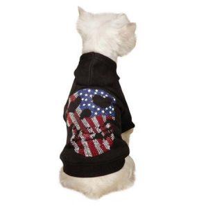Zack & Zoey UM6957 12 17 Americas Pup Skull Hoodie S Blk