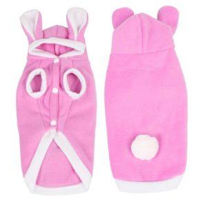 imitated rabbit Shape pET Puppy Dog Apparel Jacket Coat Blouse Pink White Costume S