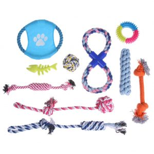 10pcs Puppy Dog Pet Chew Toys Set Pet Tranning Ball Cotton Pet Rope Playing Toys Fishbone Flying Disc for Small to Medium Dogs