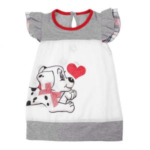 Baby Kids Girls Lovely Bowknot Cartoon Dog Print O-Neck Fly Sleeve Dress