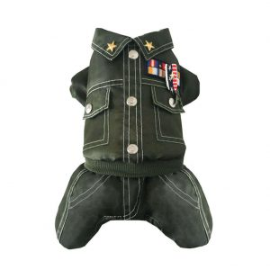 Cool Army Uniform Pet Dog Cat Coat Warm Winter Autumn Cotton Jumpsuit General Coat Waterproof Pants Apparel for Dogs