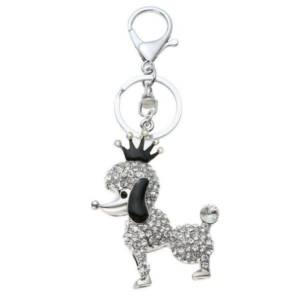 Crown Dog Key Chain Girl Chic Cute Keyring Bag Pendant Bag Car Decoration Puppy Key Holder Accessories