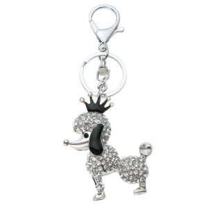 Crown Dog Key Chain Girl Chic Cute Keyring Bag Pendant Bag Car Decoration Puppy Key Holder Accessories