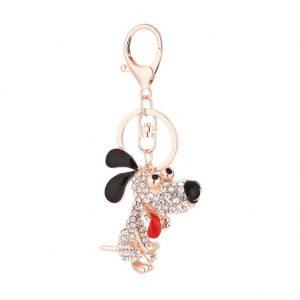 Cute Cartoon Dog Key Rings Shining Rhinestone Car Bag Pendant Keychain Gift