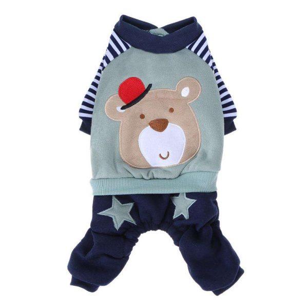 Dog Cartoon Bear Coat Jacket Clothing Winter Warm Sweater Puppy Clothes Costume Apparel Coat Size Ginger / Light blue XXS-L