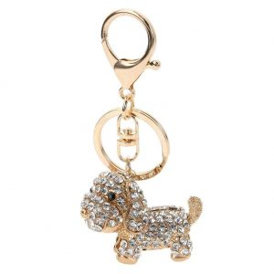 Dog Cute Keychains Charm Lovely Pendant Crystal Key Holder Dog Key Chain Keyring Chic Bag Pendant Car Decoration