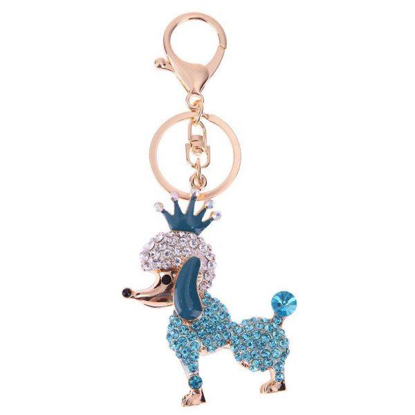 Lovely Crown Poodle Dog Charm Pendant Rhinestone Crystal Purse Bag Key Chain Women Jewelry Gift Fashion Ornaments Keychain Gift