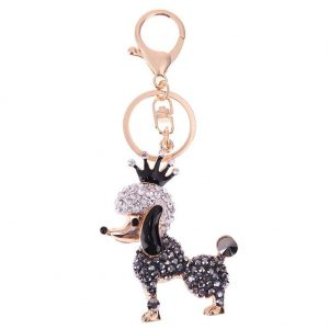 Lovely Crown Poodle Dog Charm Pendant Rhinestone Crystal Purse Bag Key Chain Women Jewelry Gift Fashion Ornaments Keychain Gift