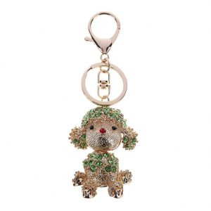 Lovely Dog Crystal Handbag Pendant Keyrings Keychains for Car Key Holder
