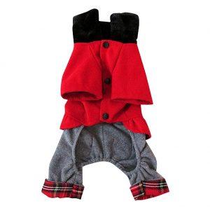Red Solid Cotton Winter Dog Pet Clothes Apparel Red Woolen Cloth Plaids Jumpsuit Pant Coat