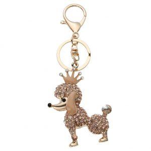 Shining Women Girl Crown Dog Rhinestone Glitter Car Key Chain Pendant/Gold