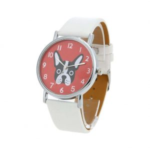 Unisex Lovely Cute Dogs Pattern PU Leather Bracelet Casual Quartz Watch