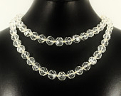 Vintage Sterling Silver Lead Crystal Choker Necklace Formal Fine Estate Jewelry, Double Strand Beaded Statement Mid Century Modern Mad Men