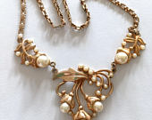 50s Gold Pearl Necklace Bib Necklace Mid Century Jewelry Repousse necklace Choker