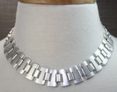 Antique silver brushed choker, link choker, bib necklace, hammered silver choker, silver brushed necklace
