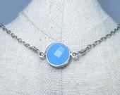 Aqua gemstone choker, antique silver bezel necklace, pendant choker necklace, gemstone boho choker, aqua stone necklace