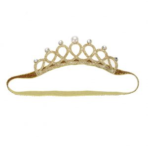 Baby Infant Pearl Crystal Crown Headband Stretchable Hair Band (Gold)