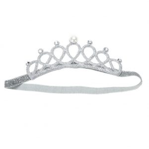 Baby Infant Pearl Crystal Crown Headband Stretchable Hair Band (Silver)