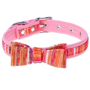 Bowknot Golden Stripe PU Puppy Teddy Small Dog Collars Pet Necklace(Pink/M