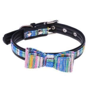 Bowknot Golden Stripe PU Puppy Teddy Small Dog Collars Pet Necklace(blue/M