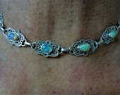 Opal Necklace Opal Cabochon Choker w 6 Solid Genuine AAA Opals and 18 Solid Opal Rondelles in Adjustable Bali Style Sterling Silver Choker