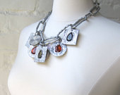 Silver Metallic Choker/Necklace w. Circles Squares Colorful Charm Statement Necklace in Orange Gray OOAK Pauletta Brooks Wearable Art