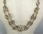 Smokey Quartz Layered Faceted Gemstone choker, Antique Gold choker necklace, Venetian style Vintage necklace, Faceted gemstone choker