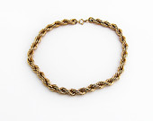 Vintage Rope Chain Choker Necklace 12K Gold Filled