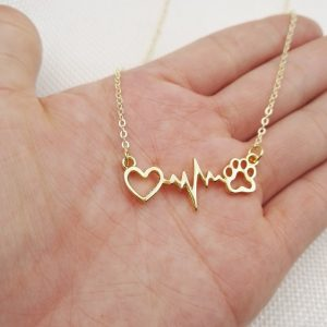 Animal Love Cats And Dogs Paws And Heart Heartbeat Necklaces Pendants Jewelry - Gold